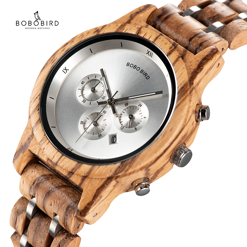 BOBO BIRD Wood Women Watches Luxury Timepieces Functional Stop WristWatch Date Display Wooden Gifts Box  C-P18N Reloj Mujer