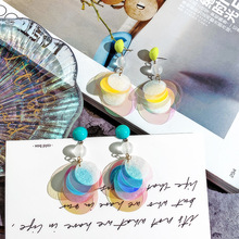 DREJEW Pink Blue Colorful Sequins Statement Earrings 2019 925 Pearl Alloy Drop for Women Wedding Fashion Jewelry HE6641