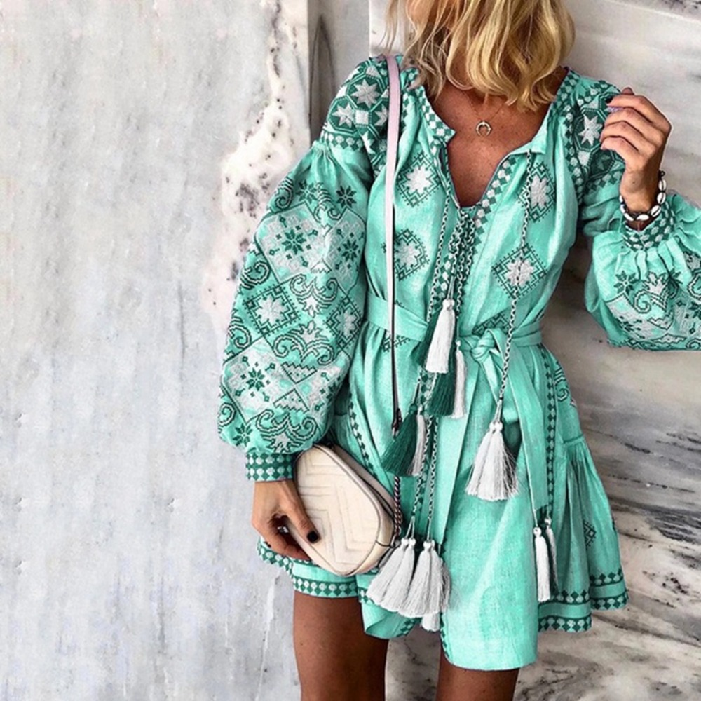 Women Ethnic Printed Lantern Sleeve Casual Mini Dress