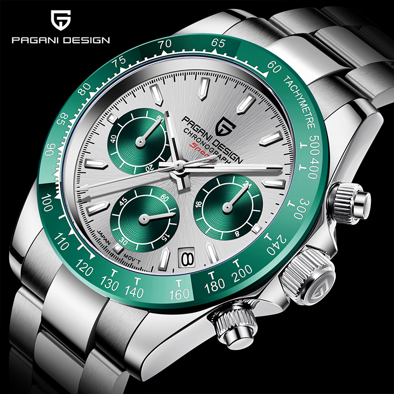 Fashion Brand PAGANI DESIGN Stainless Steel Quartz Men's Watches Waterproof <font><b>100M</b></font> Sports Chronograph Japan VK63 Relogio Masculino image