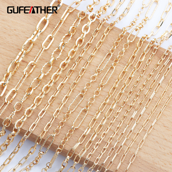 GUFEATHER C86,jewelry accessories,diy chain,18k gold plated,0.3 microns,diy bracelet necklace,hand made,jewelry making,1m/lot - sale item Jewelry Making