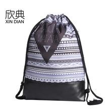 Amazon 2019 new PU leather bottom bundle pocket printed Hakunamatata shoulder backpack rope bag