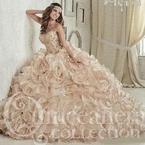 Image 1 - 2019 หรูหราแชมเปญเย็บปักถักร้อยคริสตัล Ball ชุด Quinceanera เดรสความยาว Vestidos De 15 Anos หวาน 16 ชุด
