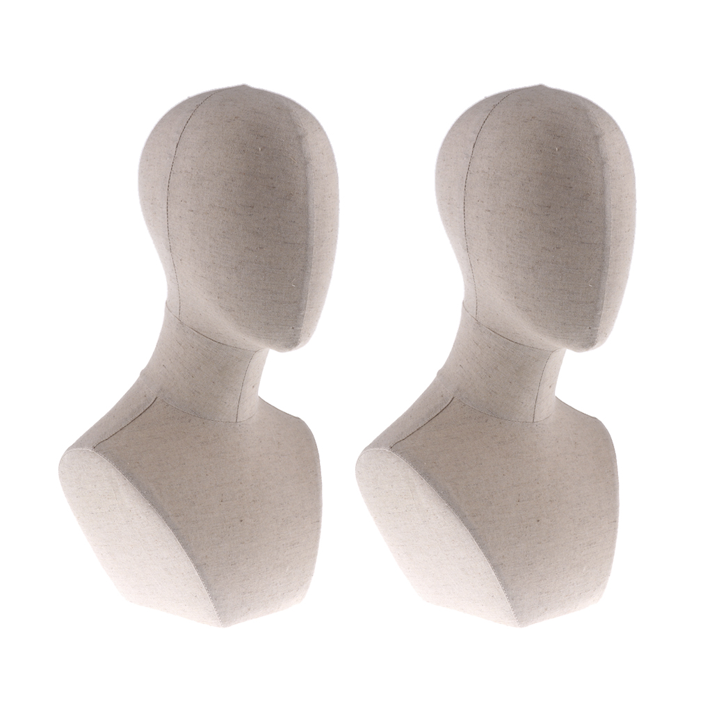 2pcs 22inch Mannequin Manikin Head Model Jewelry Wigs Glasses Hat Hairband Display Stand with Shoulder Bust