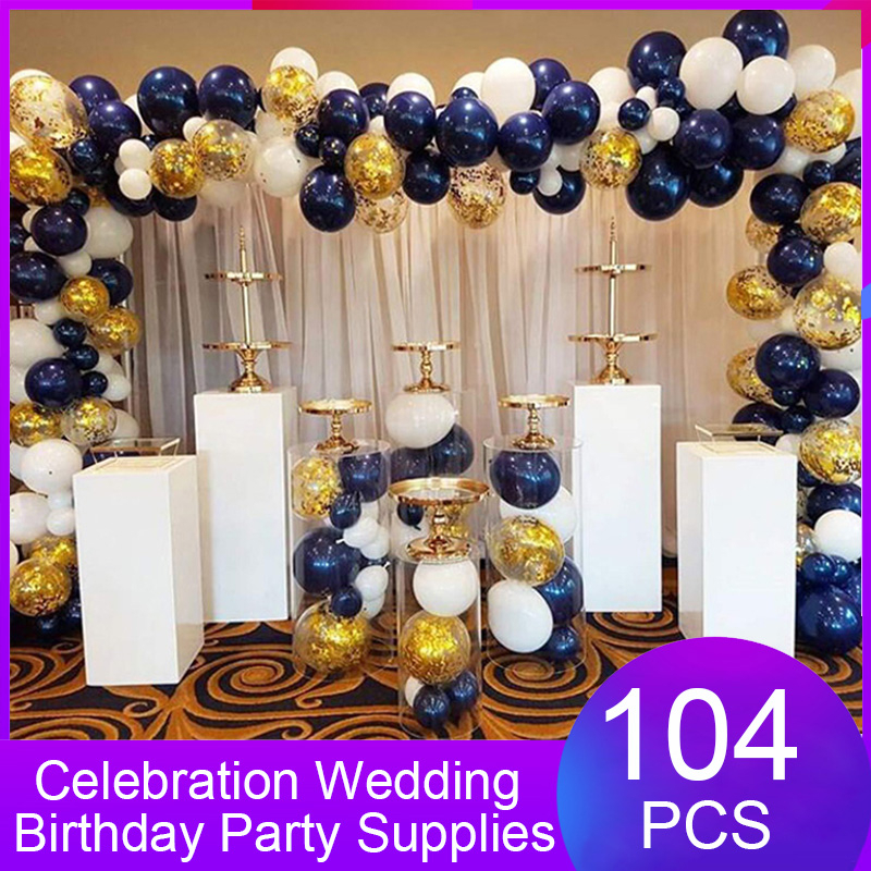 104pcs Baby Shower Celebration Wedding Birthday Party Decoration Navy Blue White Gold Latex Balloons Arch Garland Suit Supplies