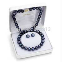 free shipping ddh00937 HUGE 10 11MM TAHITIAN GENUINE PERFECT BLACK PEARL NECKLACE EARRING 18