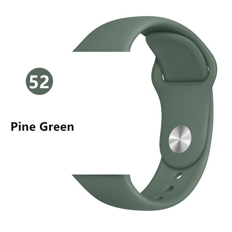 Ремешок для Apple Watch 38 мм 42 мм iWatch 4 ремешка 44 мм 40 мм спортивный силиконовый ремень браслет Apple watch 5 4 3 2 Аксессуары для ремешка - Цвет ремешка: Pine Green