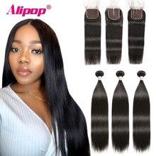 Alipop Hair Straight Bundles With Closure Peruvian 3 Remy 100% Human