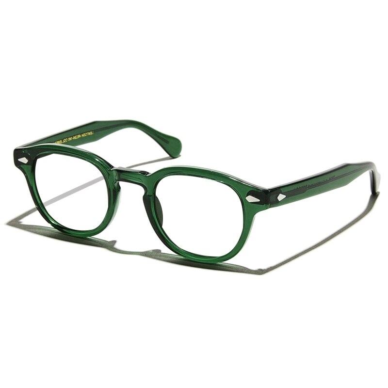 Green Johnny Depp Glasses Men Women Computer Goggles Round Transparent Eyeglass Brand design Acetate Vintage Glasses Frame