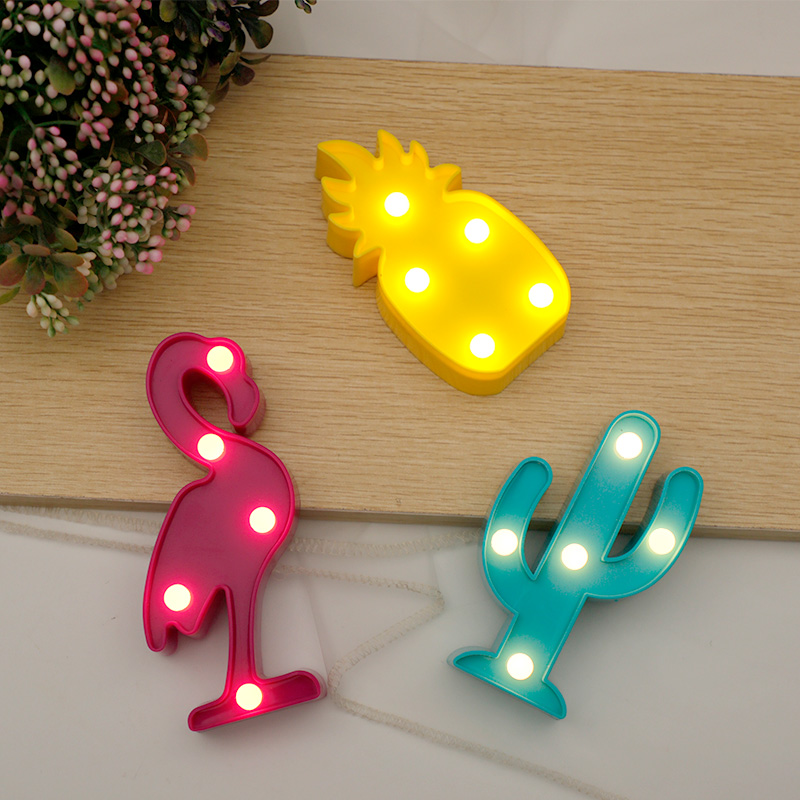 Flamingo LED Night Lights Party Pineapple Cactus Lamp For Home Wall Kids Room Birthday Decorations Valentina Christmas Gift