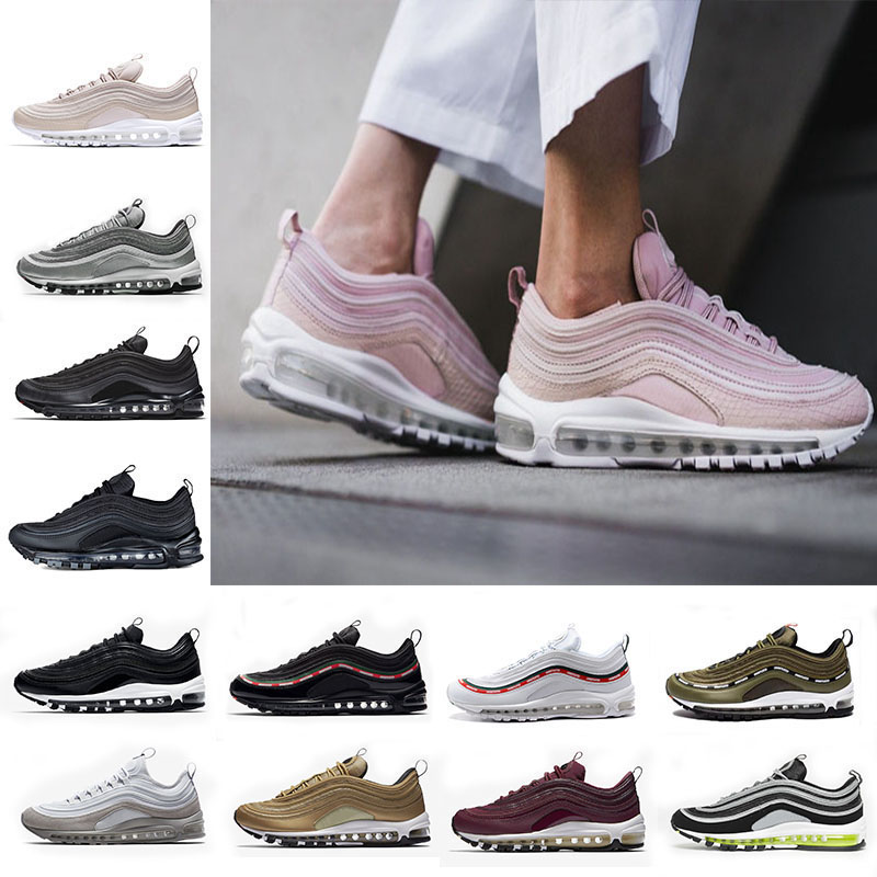 AQLOAC 97 Shoes Og Triple White Running Shoes Metallic Gold Silver Ball Pink Men Trainer Women Sport Sneakers Max Size Us 12
