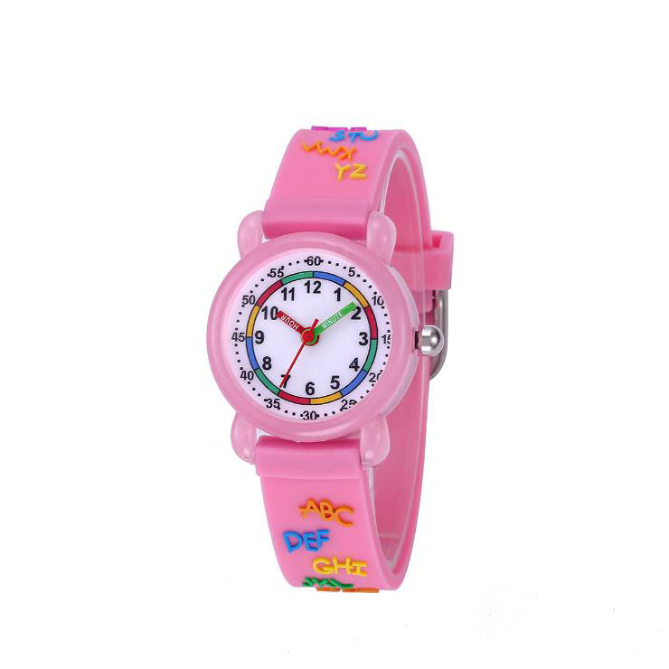 Children's Watches 26 English Alphabet Silicone Straps Waterproof Quartz Watch Kid Wristwatch for Boys Girls Gift Montre Enfant