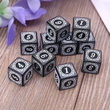 10 шт. D6 многогранные кубики обрезанная на четыре цифры 6 сторонняя кубики бусины настольная доска 448D