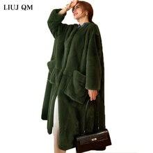 Luxury Runway Faux Fur Coat Women Plus size Clothing Women Winter Overcoat Fluffy Shearling Jacket Long Parkas Warm Outerwear