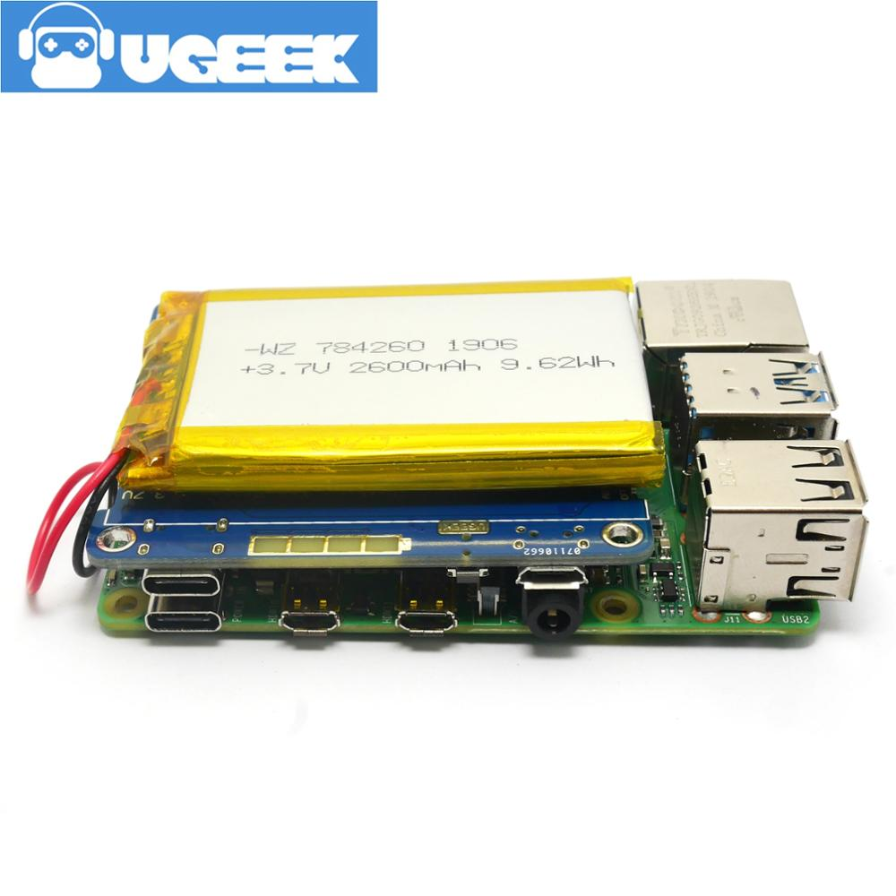 Купить с кэшбэком UGEEK UPS 2 HAT with Battery for Raspberry 4B/3B+/3B|support 3A Charger/Current output|Compliant with Quick Charge QC3<5V/3A>