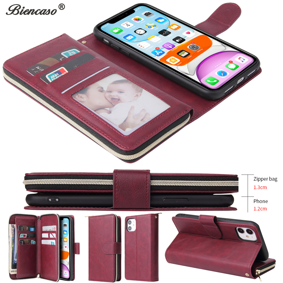 Ultra Thin Zipper Cover For iPhone 12 Mini Case iPhone 6 6S Plus 7 8 X 10 XS XR XS Max 11 iPhone11 Pro Max SE 2020 Stand Fundas