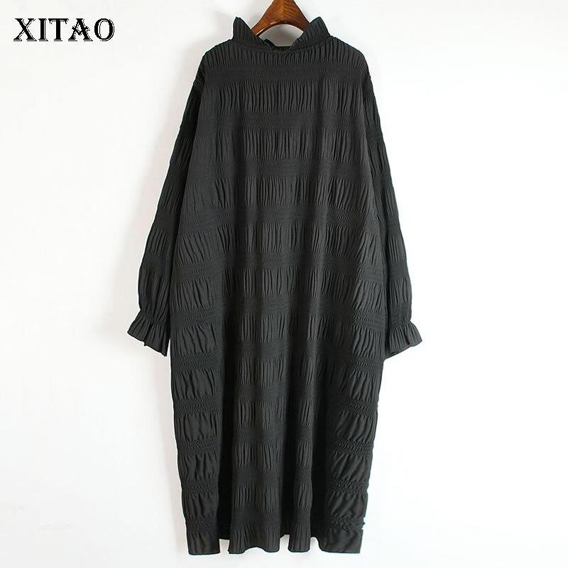XITAO Plissee Kleid Mode Neue Frauen Pullover Gestrickte 2020 Elegante Kleine Frische Casual Stil Lose Feste Farbe Saum Kleid ZY1348
