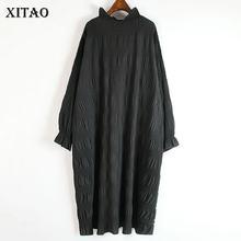 XITAO robe plissée mode nouvelles femmes pull tricoté 2020 élégant petit frais Style décontracté lâche couleur unie ourlet robe ZY1348