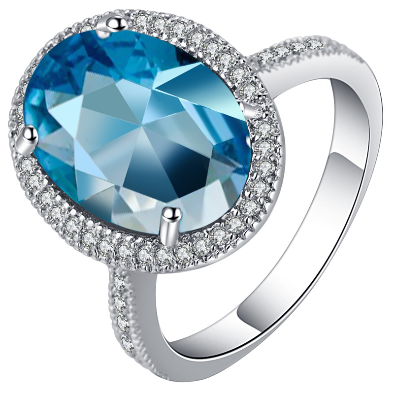 Female Stunt Ring Big 5CT Blue Crystal CZ Engagement Party band  crystal ring