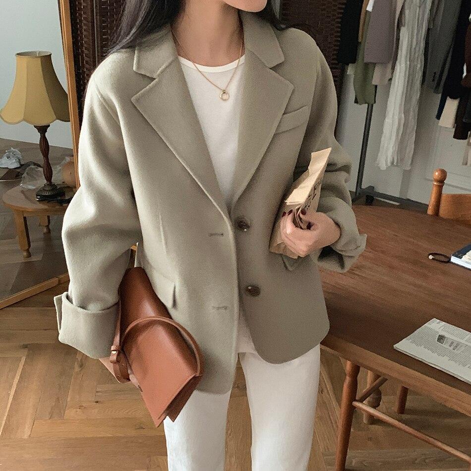 H1c5e57eb5eed43e482149fe51177c6b5l - Winter Korean Revers Collar Solid Woolen Short Coat