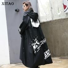 معطف أسود مقاس كبير من XITAO للنساء مطبوع طويل ملابس الشارع الشهير معطف نسائي واسع بخصر واسع 2019 ZLL1100