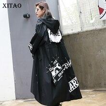 Xitao にスプライシングプラスサイズ黒トレンチ潮ロングプリントストリートパーカーカジュアル女性ワイドウエストコート 2019 ZLL1100