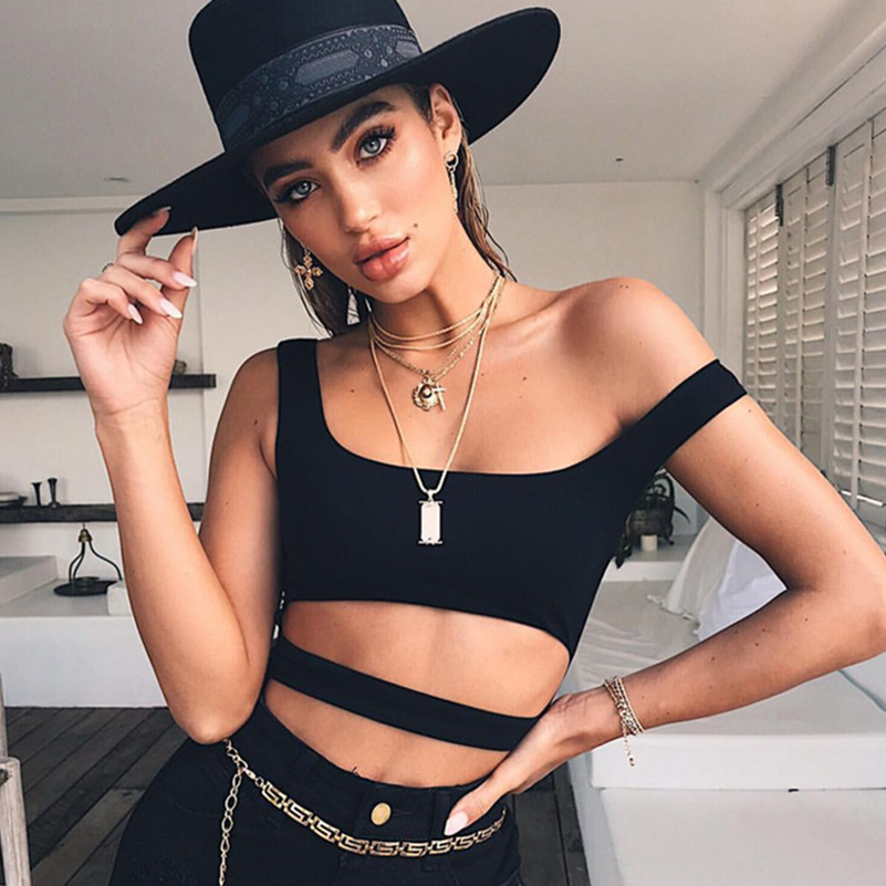 Hollow Out Solid Skinny New Summer Beach Bodysuit Top 2020 New Women Swimwear Sexy Tank White Female Jumpsuits Black Fashion