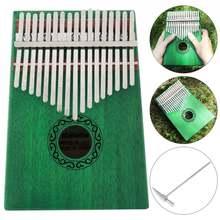 17 клавиш зеленая kalimba Одиночная доска красное дерево палец