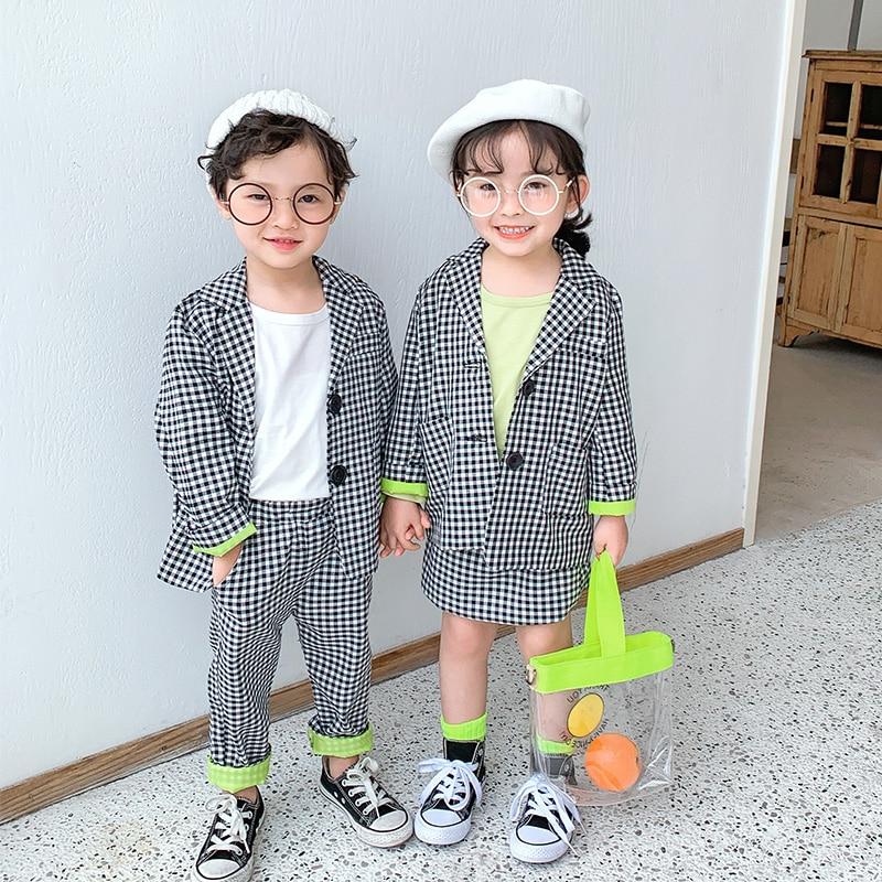 2019 Spring Autumn Children Clothes Lattice Set For Boys Girls Suits Jacket Short Dress Two-piece Long Sleeve Kids Clothes Girls