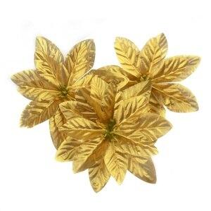 Image 2 - 10 sztuk 14cm flanela duże sztuczne główki kwiatu róży dla domu dekoracje ślubne Scrapbooking choinka bożonarodzeniowa DIY jedwabne kwiaty