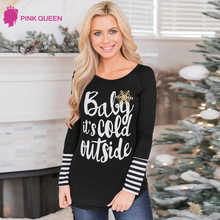 Letter Printted Women Blouses Christmas Snowflake Blouse Tops Long Sleeve Stripe Pactwork O Neck Casual Blusas Femininas