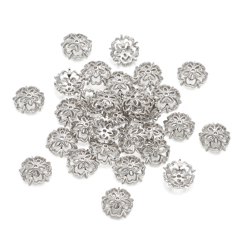 30pcs 10x3mm 5-Petal Flower Brass Bead Caps End Caps Platinum For Jewelry Making DIY Bracelet Necklace Accessories Findings