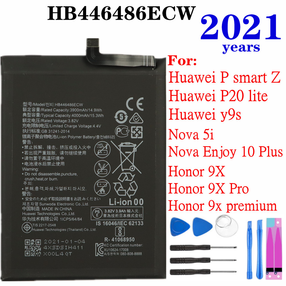 2021 Years For Huawei Y9s P smart Z/P20 lite (2019),Honor 9X/9X Pro/9X premium,Nova 5i/Enjoy 10 Plus Phone Battery HB446486ECW