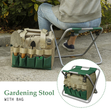 Durable Oxford Cloth With Tote Bag Folding Seat Multifunctional Yard Pouch Gardening Stool Multiple Pockets Portable Practical