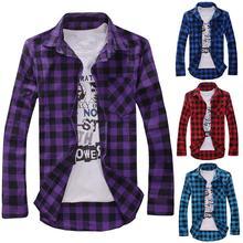 Мужчины 27% Свободный Плед Рубашка Повседневный Куртка Студент Рубашка Плед Длинный Рукав Рубашка Весна И Осень Свободный Цвет Соответствующий Мужской Рубашка