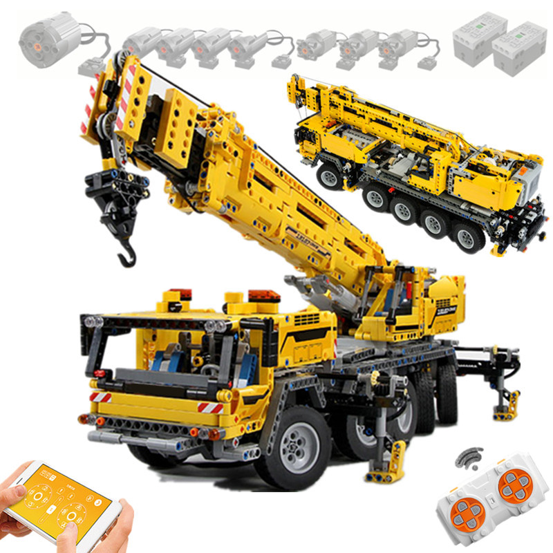 New RC APP Motor Power Mobile Crane Mk II Car Truck Model Kit Fit Technic Building Blocks Bricks <font><b>42009</b></font> 13107 DIY TOYS Gifts image