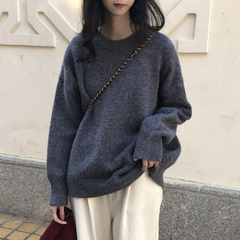 Ailegogo New Women Classic Knitted Pullovers Casual Female Sweater Loose Fit Outwear Retro Fashion Knitwear Ladies Outwear 1