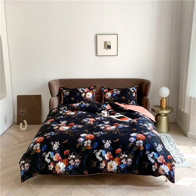 Egyptian Cotton Bedding Dark Blue Floral
