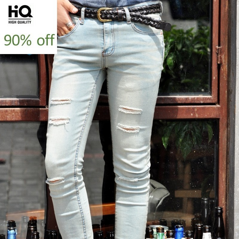 Hole Ripped Light Blue Mens Denim Pants Fashion Stretch Shinny Cowboy Trousers Korean New Brand Casual Pencil Pants Streetwear