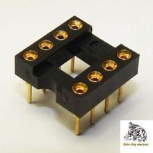 10PCS/Lot All Gold Plated 8P IC Socket 8PIN IC Socket DIP8 Block 8 Feet Round Hole Seat Scoket Base Integrated Circuit