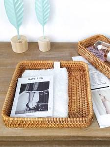 Baskets Plates Tableware Storage-Tray Vegetable-Snacks Dishes Dried-Fruit Cute Rattan