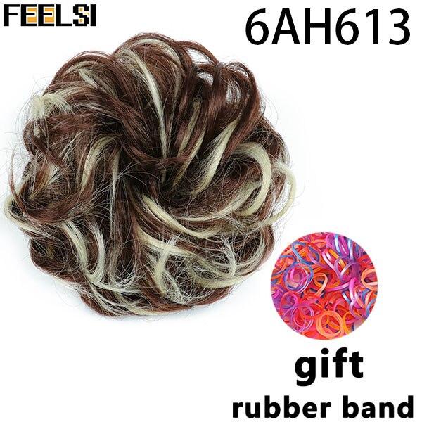 FEELSI синтетические гибкие волосы булочки кудрявые резинки шиньон эластичные грязные волнистые резинки для наращивания конского хвоста для женщин - Цвет: T1B/4/30