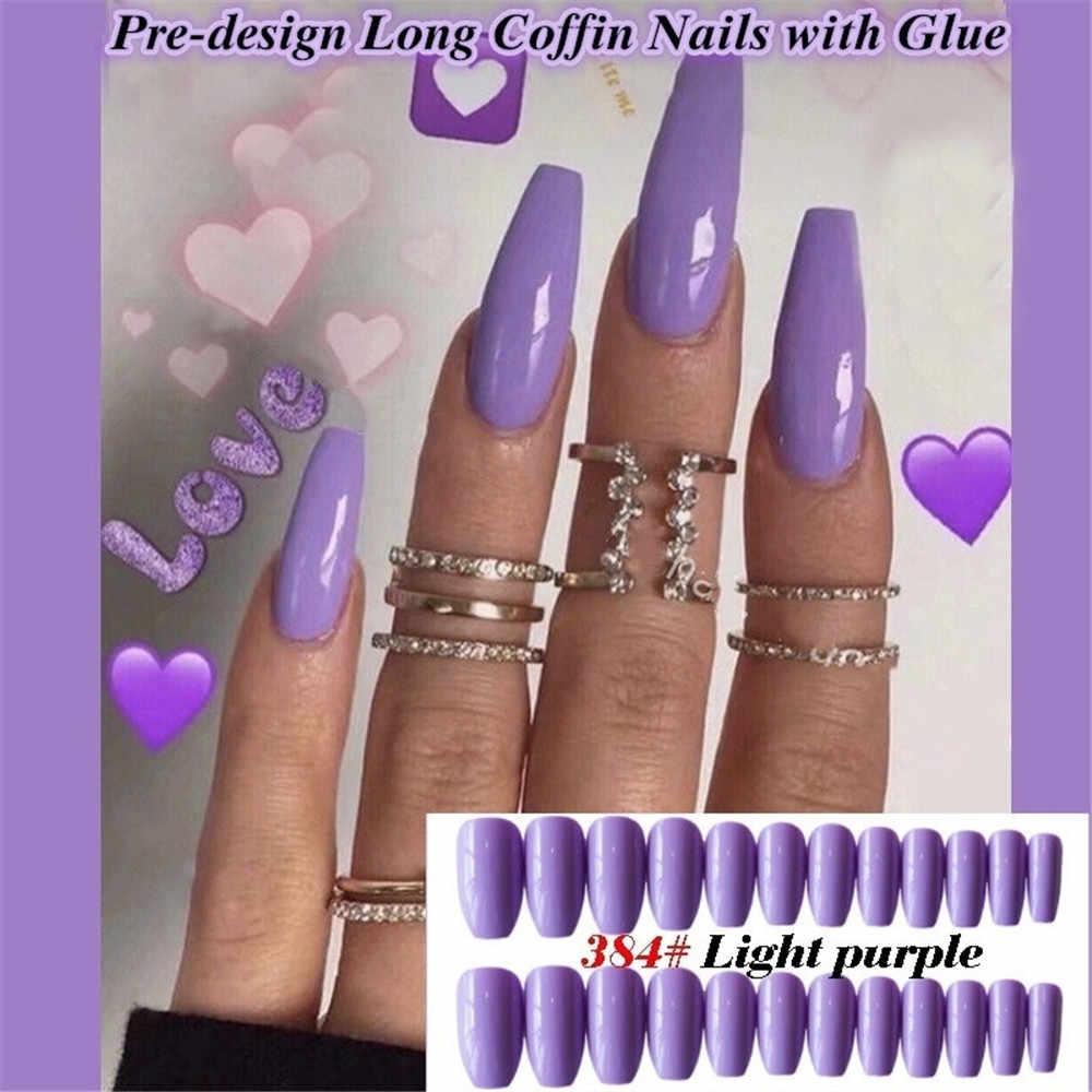24 sztuk mieszane cukierki kolor fałszywe krótkie wskazał trumny sztuczne tipsy Stiletto sztuczne paznokcie s pełna pokrywa czysta baleriny naciśnij na paznokci