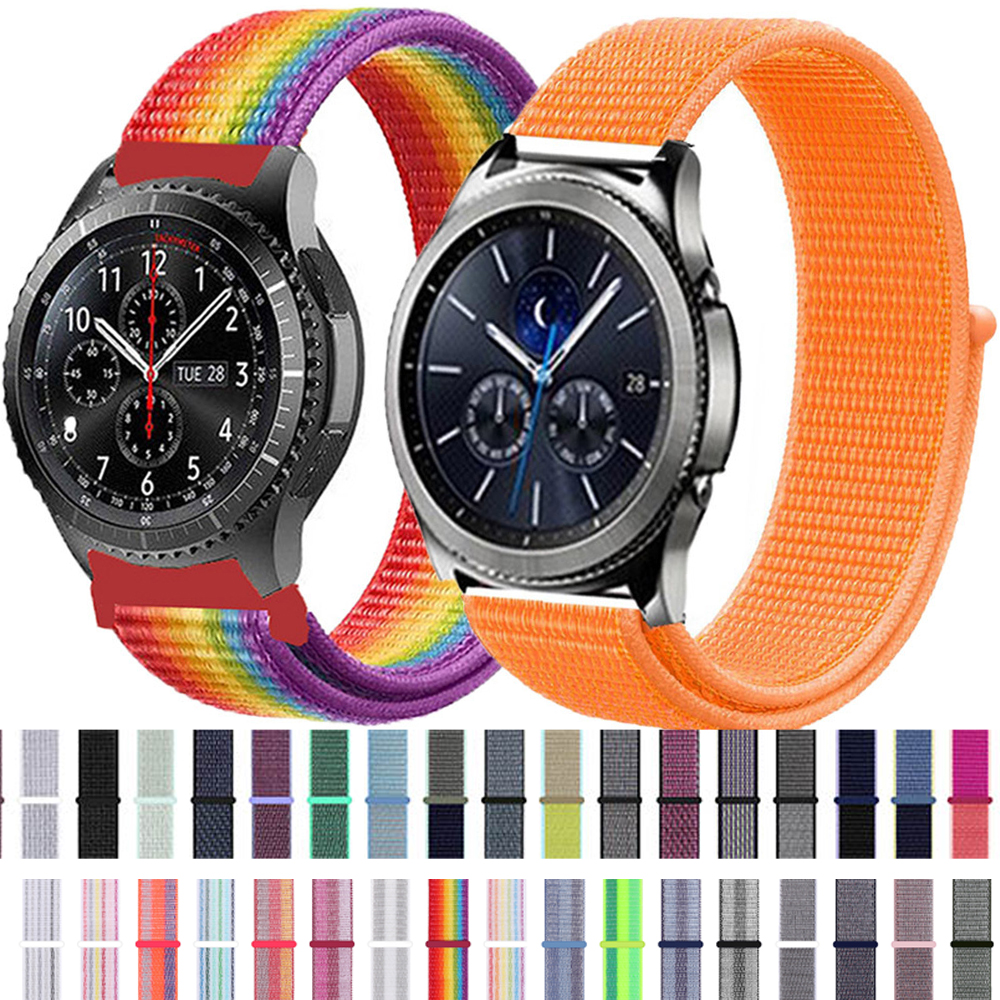22 20mm Nylon Watch Strap For Samsung Galaxy 42/46mm Active 2 40mm 44mm Gear S3/sport/S2 Classic Watchband Nylon Sport Loop Band