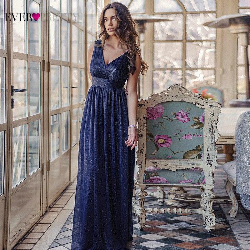 Blau Kleid Frauen Abendkleider Immer Ziemlich 2021 V-ausschnitt A-linie Ärmellose Bodenlangen Sparkly Sexy Party Kleid Robe De soiree