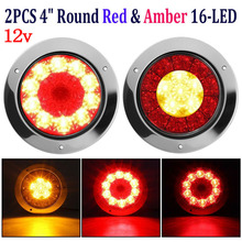 1 Pair 4 Round 16 LED Truck Trailer Brake Stop Turn Signal Tail Light Lamp ABS + Stainless Steel Chrome Car Rear