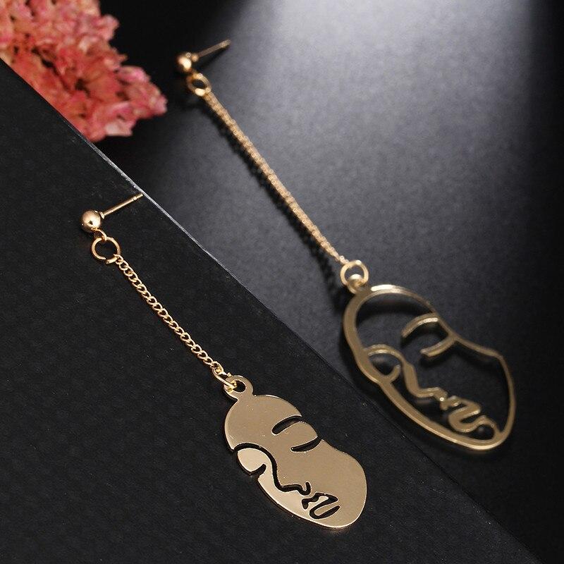 ZZYOUP Funny creativity Asymmetry Face Drop Earrings for Women Girls 2020 New Arrival Party Birthday Jewelry Gold Color Earring|Drop Earrings| - AliExpress