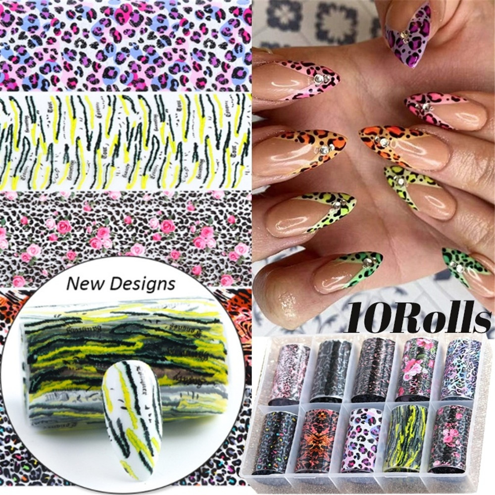 10Rolls/Set Leopard Nail Foil Set Transfer Stickers Decals Paper Clear Flakes Foils Nail Art DIY Design Tips Sticker Decorations