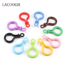 Lacoogh 5pcs/Lot 5.7X3cm Multicolor Plastic Key Ring Clasps Bag Purse Key Ring Hook Keychain DIY Jewelry Making Findings Buckle(China)