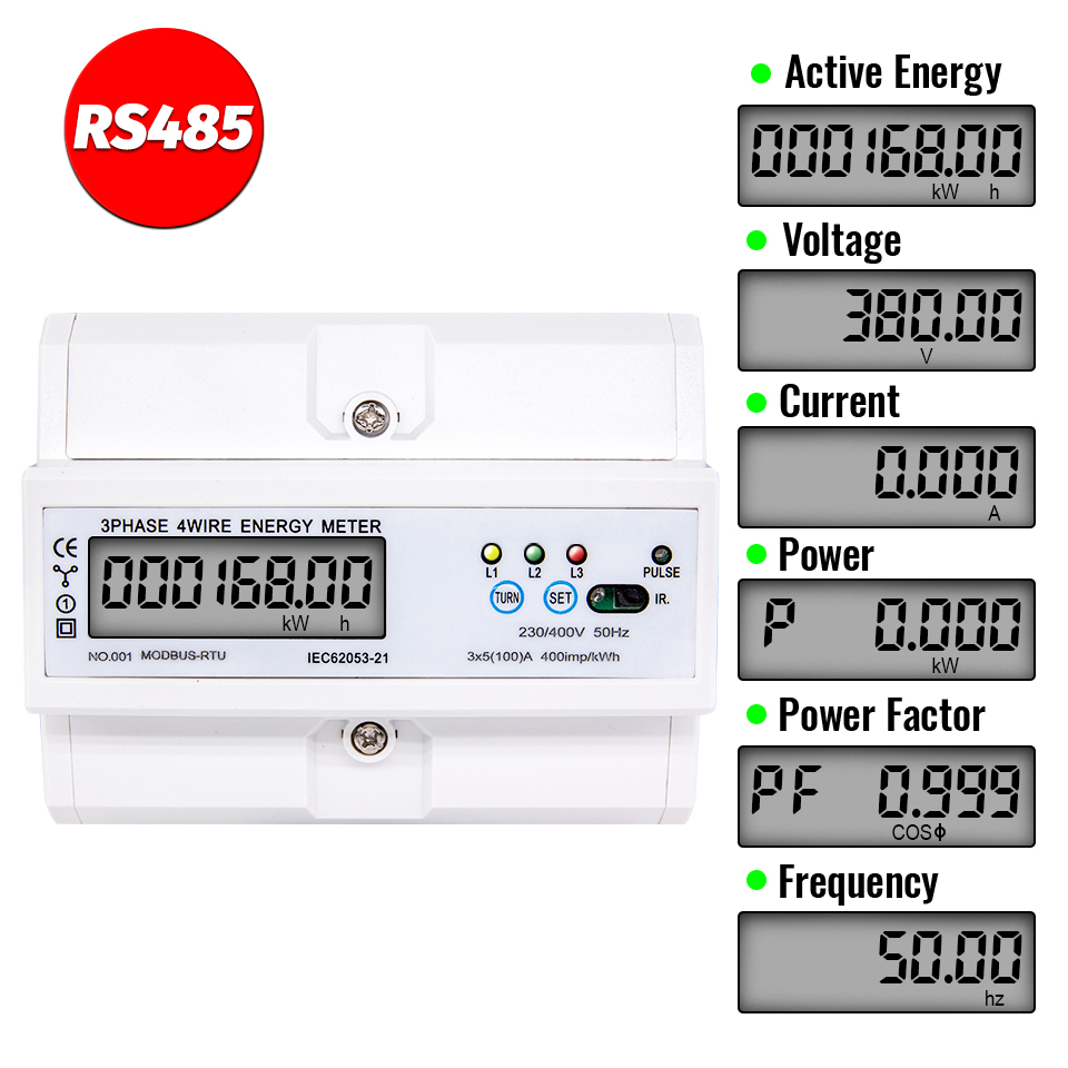 RS485 5(100)A 220/380V 3 Phase 4 Wire DIN Rail Energy Meter Digital Power Factor Monitor with Voltage Current Frequency Display image